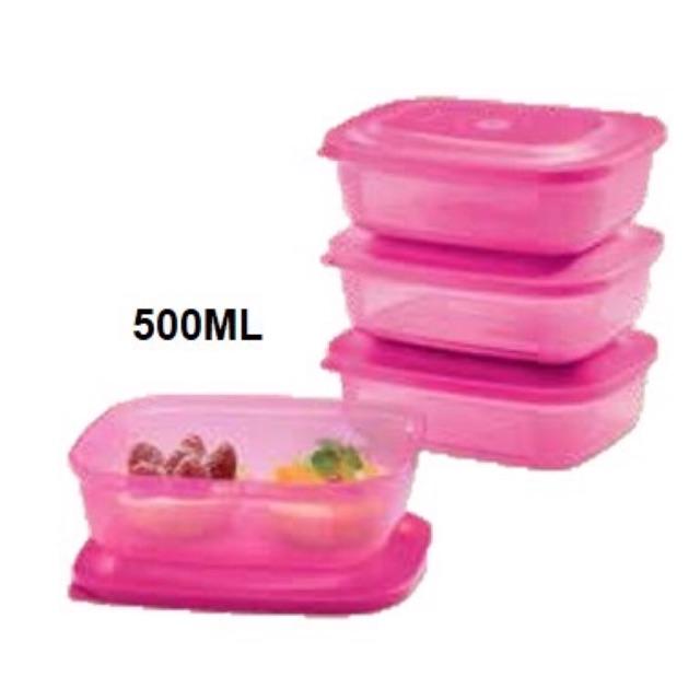 Tupperware Small Rectangular Saver (4pcs) 500ml - Pink