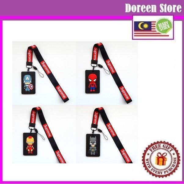 Avengers ID Badge Lanyard Name Tag Key Card Holder Keychain (Soft Rubber Type) Iron Man/ Spiderman/ Captain/ Bat-man