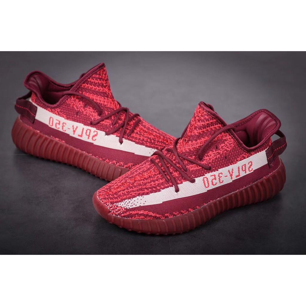 29cc69652 LIMITED EDITION Original Unisex Kanye Adidas Yeezy Boost 350 V2 Red Wine  Zebra