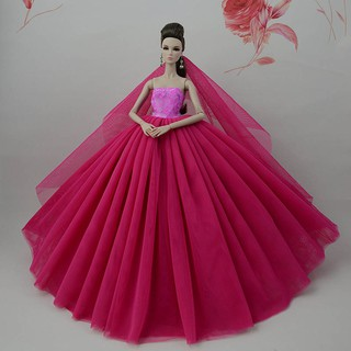 c1171ee4e60ff Yellow High Quality Doll Clothes Long Tail Wedding Dress +Veil For ...