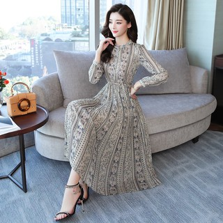 75f7e3a51e8 2019 spring Korean version of the self-cultivation printed chiffon shirt  skirt f