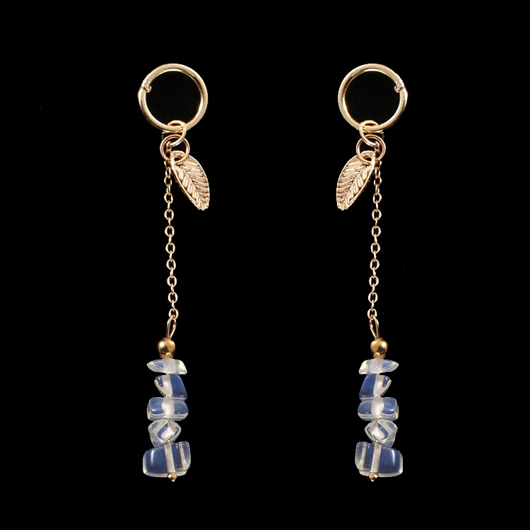 72602 Korean Simple Transparent Crystal Gold Tree Leaf Earrings