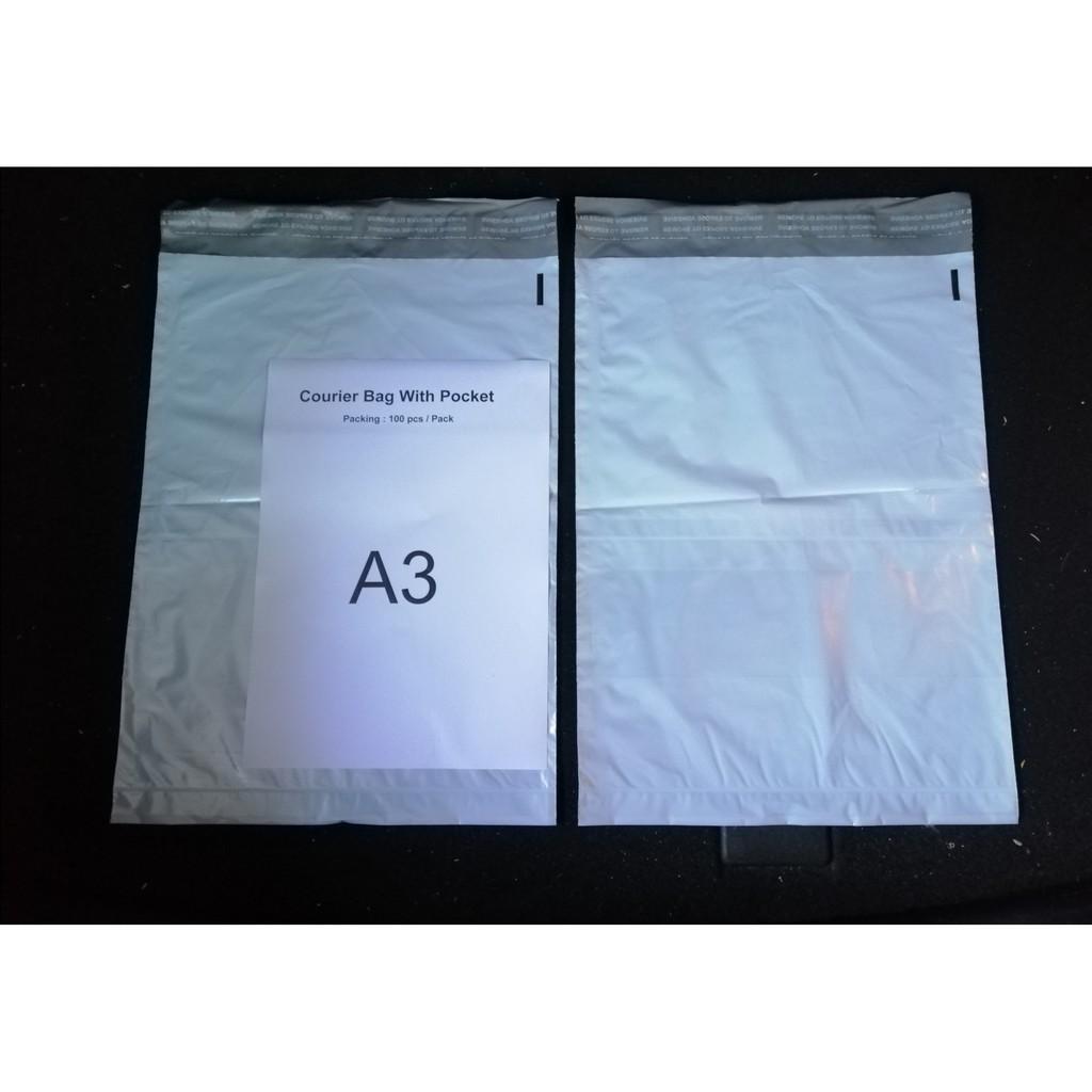 ( Ready Stock ) A3 Size Courier Bag / Flyer Bag / Parcel Bag With Pocket Design x 100 pcs