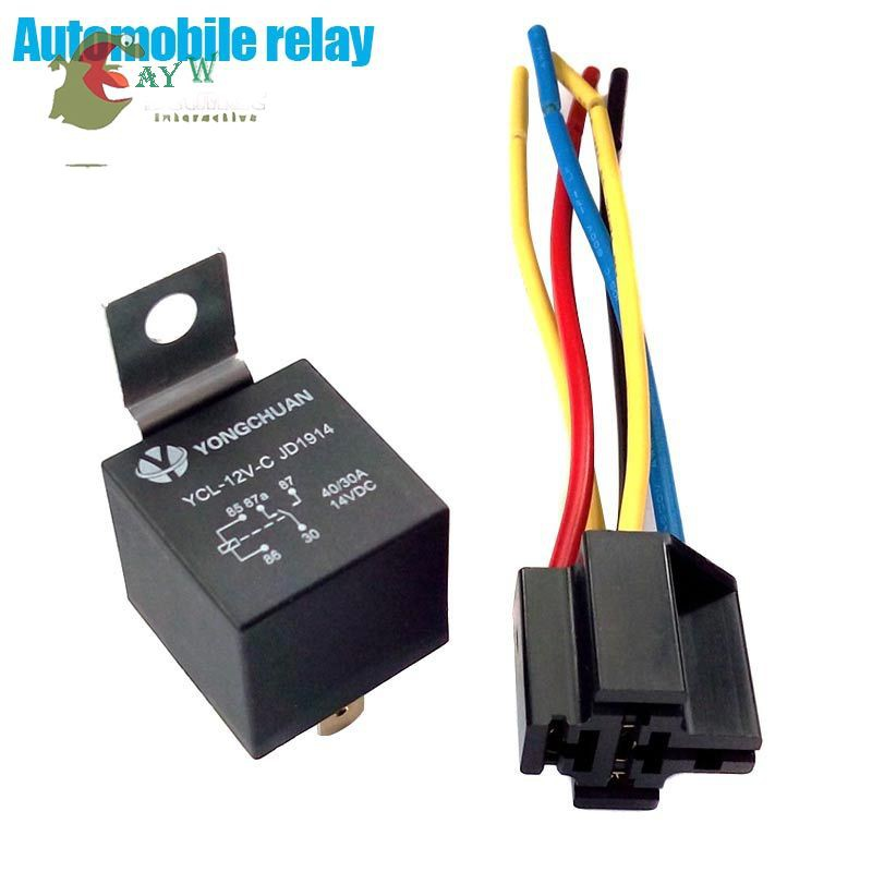 AYW♘ DC 12V Car SPDT Automotive Relay 5 Pin 5 Wires with Harness Socket 40  Amp