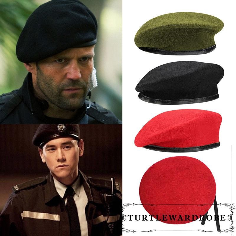 ARMY STYLE TACTICAL BERET CLASSIC MILITARY UNISEX HAT MENS PATROL CAP WOOL BLACK