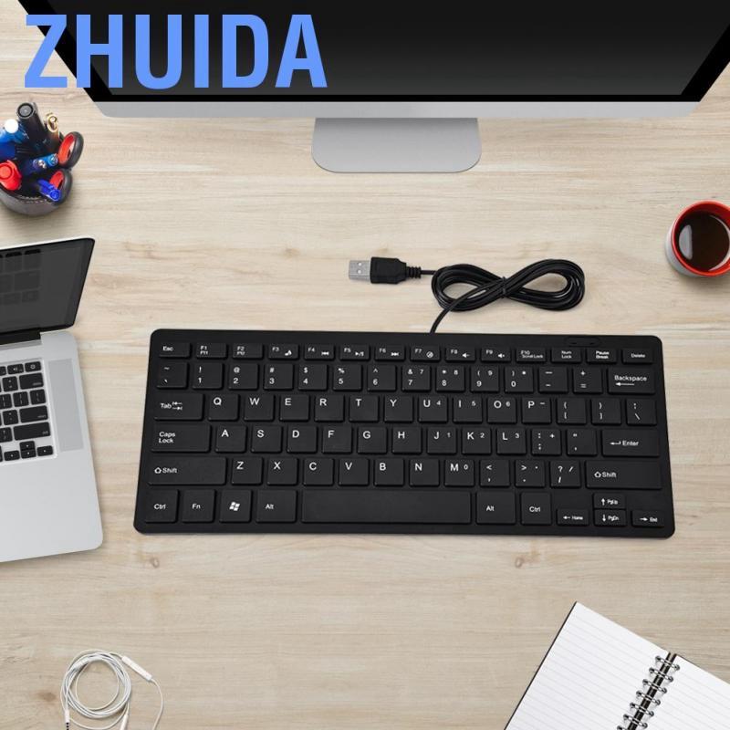 Zhuida 78 Keys Ultra Thin Mini USB Wired Keyboard for Desktop Computer Laptop PC