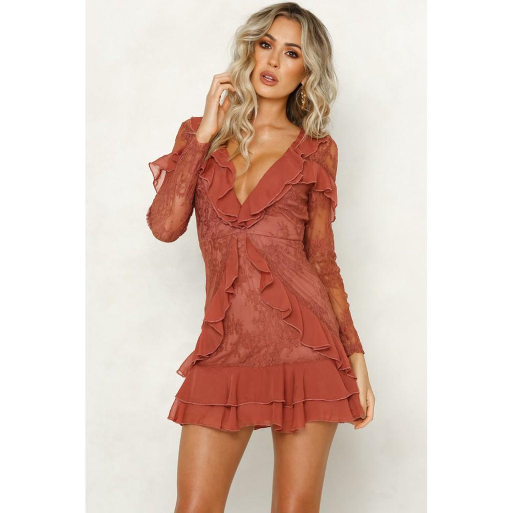 b24ea281c8b0a New women's long-sleeved lace ruffled dress 5339