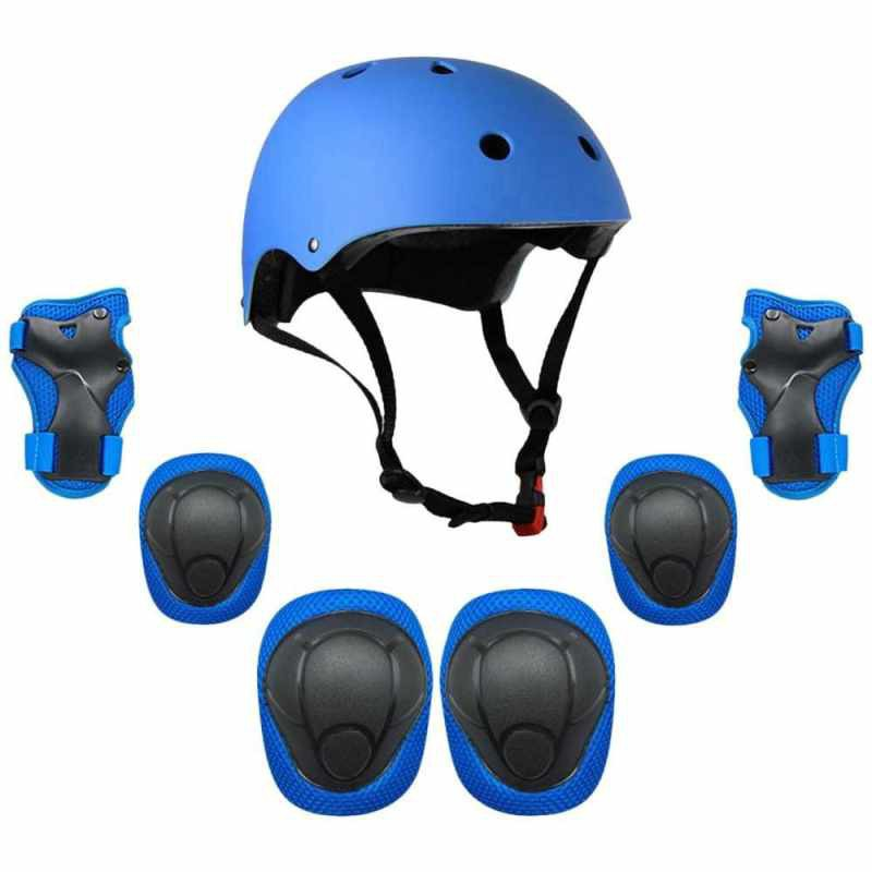 Kids 7 in 1 Helmet and Pads Set Adjustable Kids Knee Pads Elbow Pads Wrist Guards for Scooter Skateboard Roller Skating