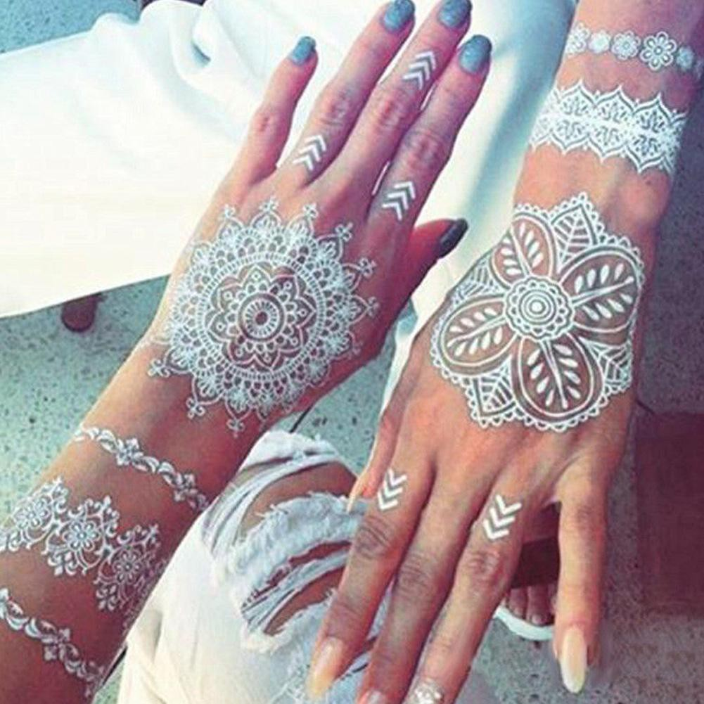 White Body Art Paint Temporary Tattoo Kit Natural Herbal Henna Cones Fashion Er Shopee Malaysia