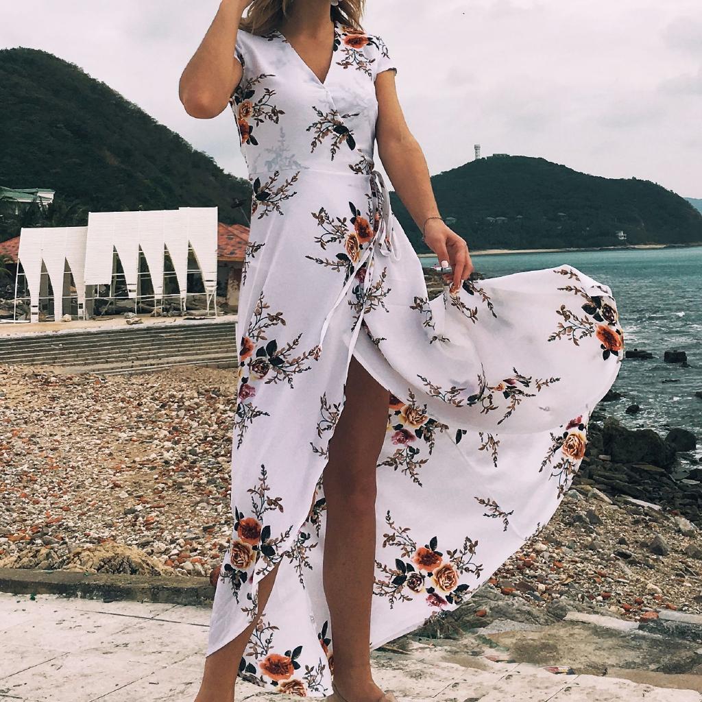 ac1c559aff ProductImage. ProductImage. 8LT Women's V-neck printed chiffon sexy split beach  beach holiday dress dress