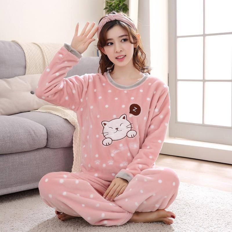 Women Flannel Pajama Sets Coral Fleece Sleepwear  a52921d97