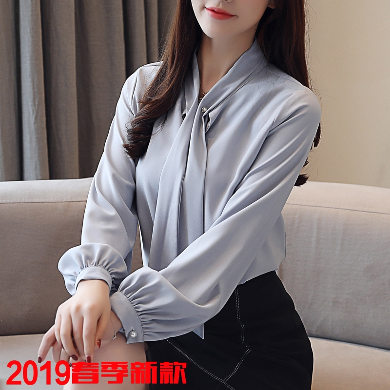 30f2c075f43bbb ProductImage. ProductImage. Crazy Sale 2019 Spring Long Sleeve Chiffon Shirt  Pearl Buckle Temperament Ribbon