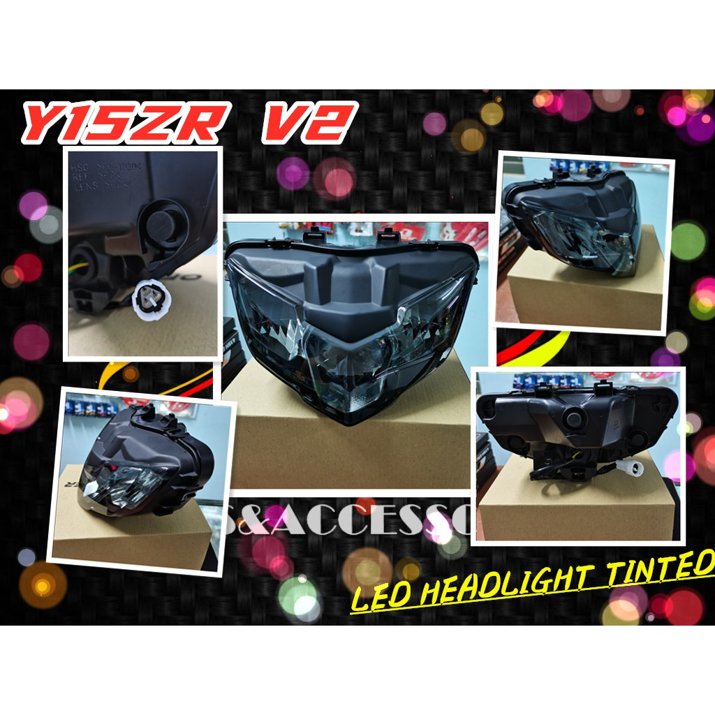 HIGH QUALITY OEM YAMAHA Y15ZR V2 DOXOU 150 PNP HANDLE COVER LED HEAD LAMP LIGHT EXCITER VIETNAM SMOKE TINTED WITH SOCKET