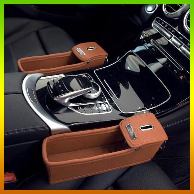 Brown Leather Car Seat Slit Gap Organizer Console Catcher Filler Storage Box Coin Cup Holder Bag Side Pocket Vehicle Con