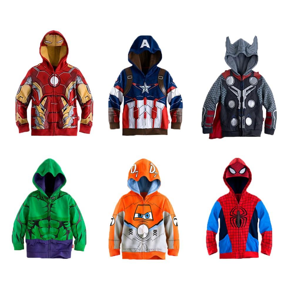 The Avengers Boys Jacket Captain America Spiderman Iron Man Kids Jacket  Superhero Hooded Zipper Boys Coat Kids Clothes