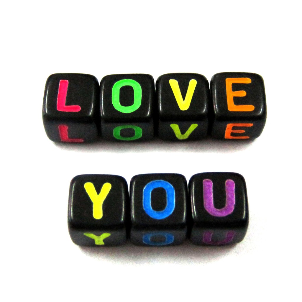 100 Transparent Coloured Alphabet Mixed Letters Cube Beads 6mm BUY 3 FOR 2