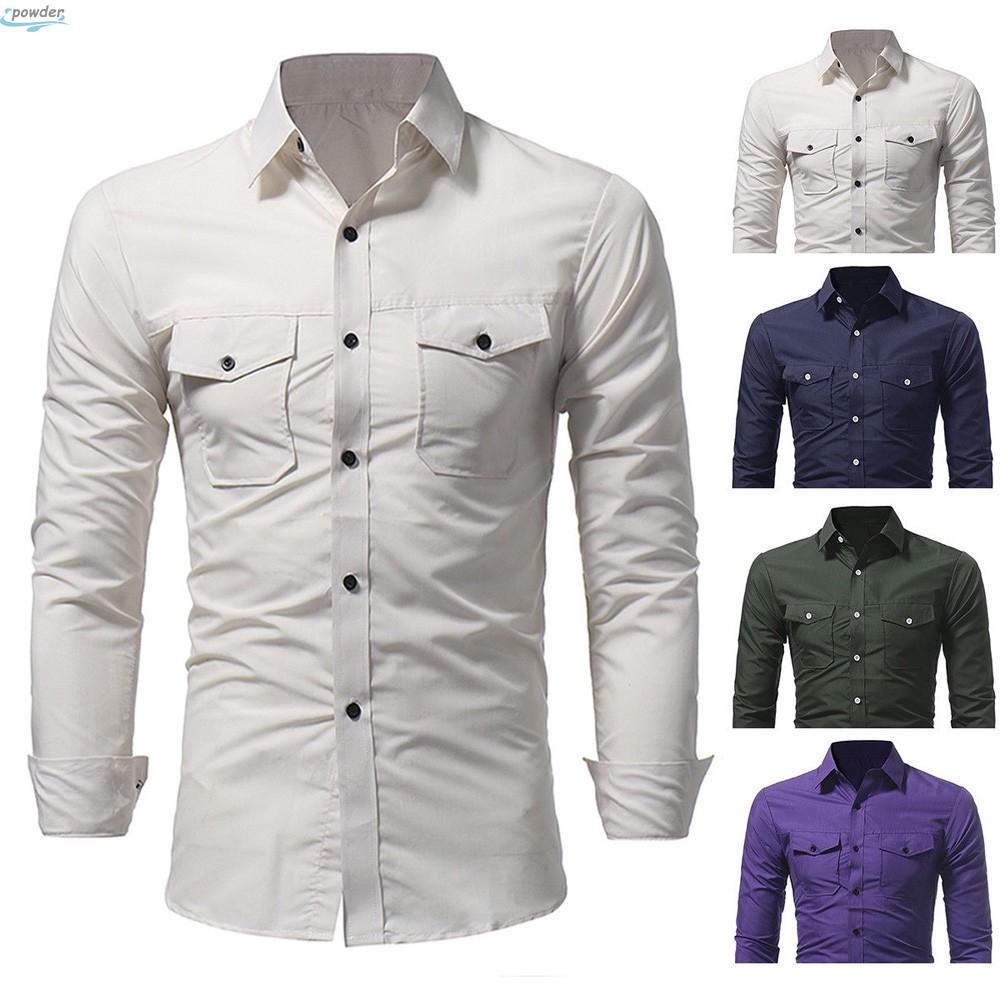 Mens Slim Fit Business Work Shirt Solid Dress Shirts Button Casual Tops M-3XL