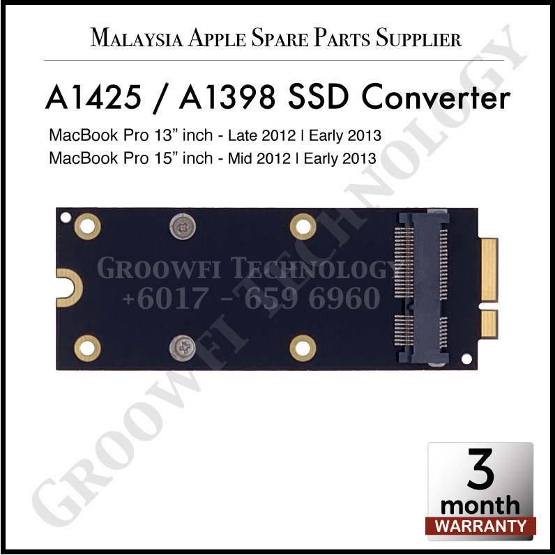 New Apple MacBook Pro Retina 13-inch and 15-inch A1425 A1398 2012 2013  mSATA SSD Converter / Adapter Card