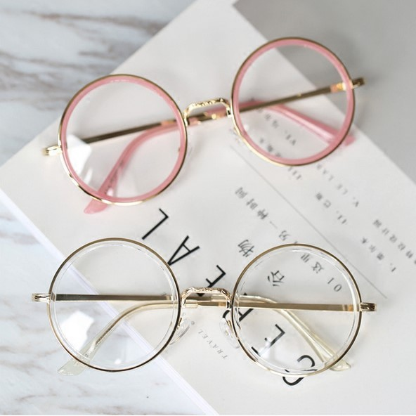 276b85327 ProductImage. ProductImage. All-match big pink transparent circular flat  mirror ulzzang retro glasses frame