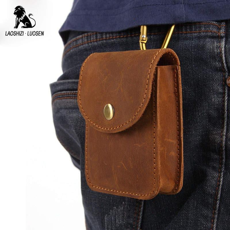bc84ffc5d20c Wholesale 2018 Men Geniune Leather Waist Bags Fanny Packs Retro Belt Bags  Cell
