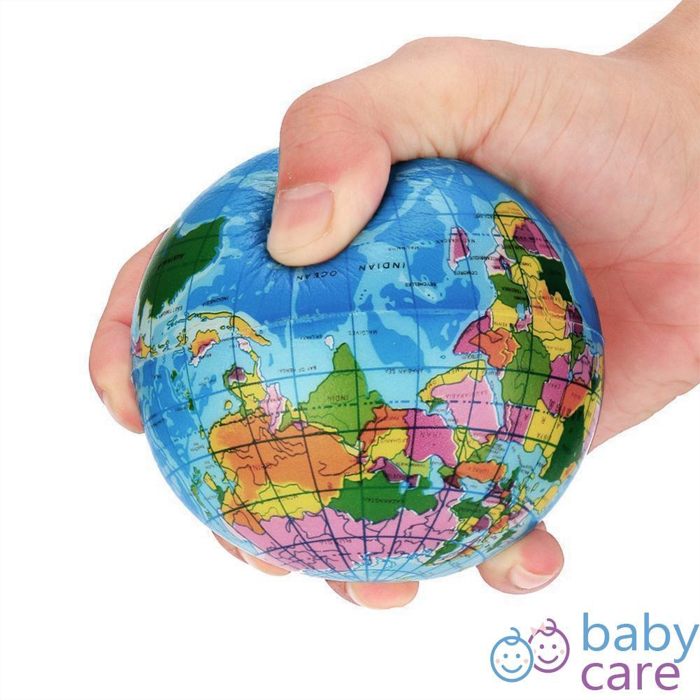 BEST ลูกบอลลายโลก บีบบบรรเทาความเครียด บอลPU  6.3 เซนติเมตร B