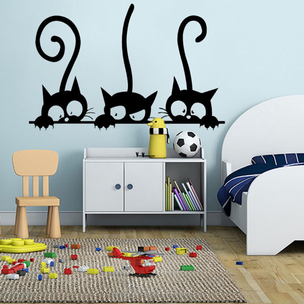 Lovely Three Black Cat DIY Wall Stickers Animal Room Decoration Vinyl Stickers