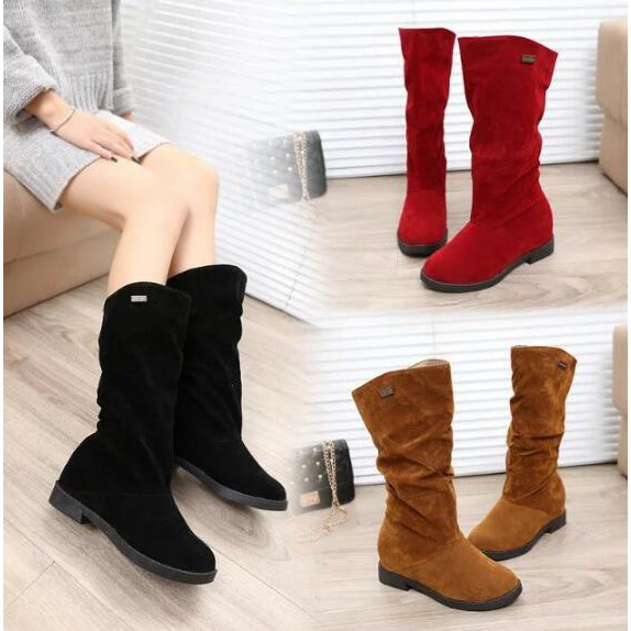 73ff376742c Suede Slouch Boots Women Mid-calf Boots Shoes