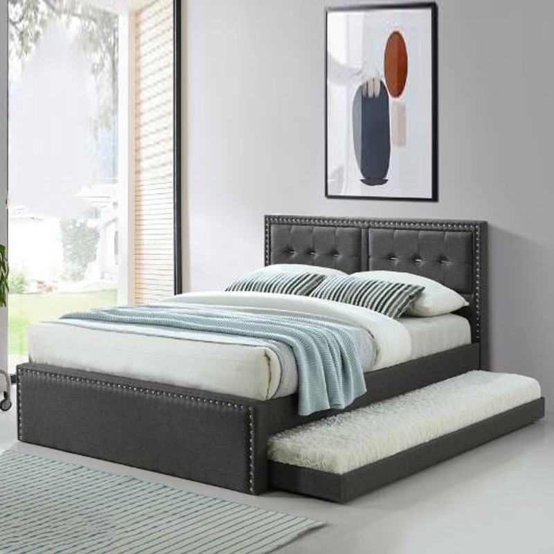 Furniture Direct RALPHIE queen size fabric pull out bed frame/ trundle bed/ katil queen