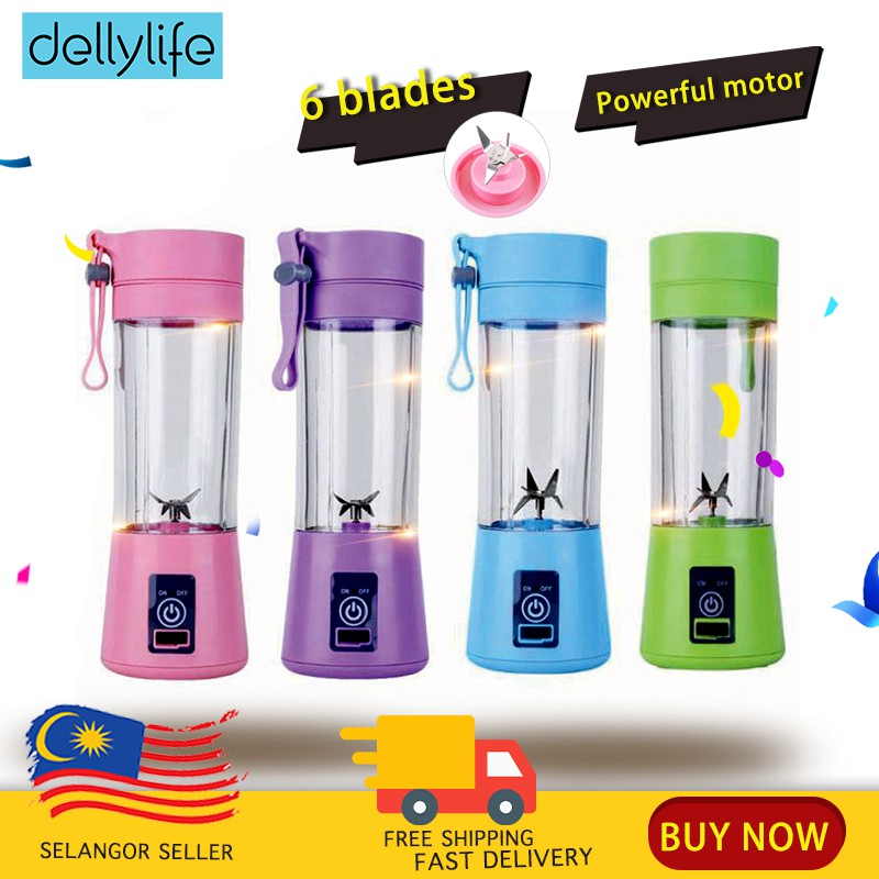 Ready Stock 🔥Delly Portable Fruit Juicer Blander Bottle 6 Blades Rechargeable USB Charging Outdoor office GYM