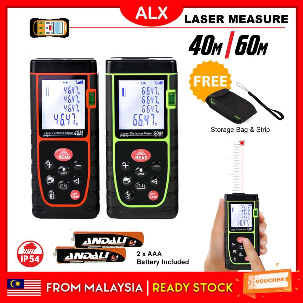 Portable 40M or 60M IP54 LCD Rangefinder Handheld Laser Distance Digital  Measure