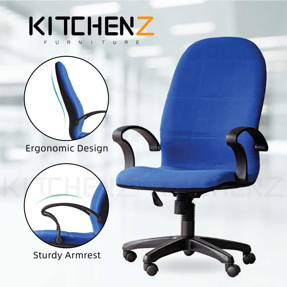 3V Ergonomic High Back Office Chair / Kerusi Pejabat with Fixed Arm and Adjustable Height - 3VEX7091L-BL