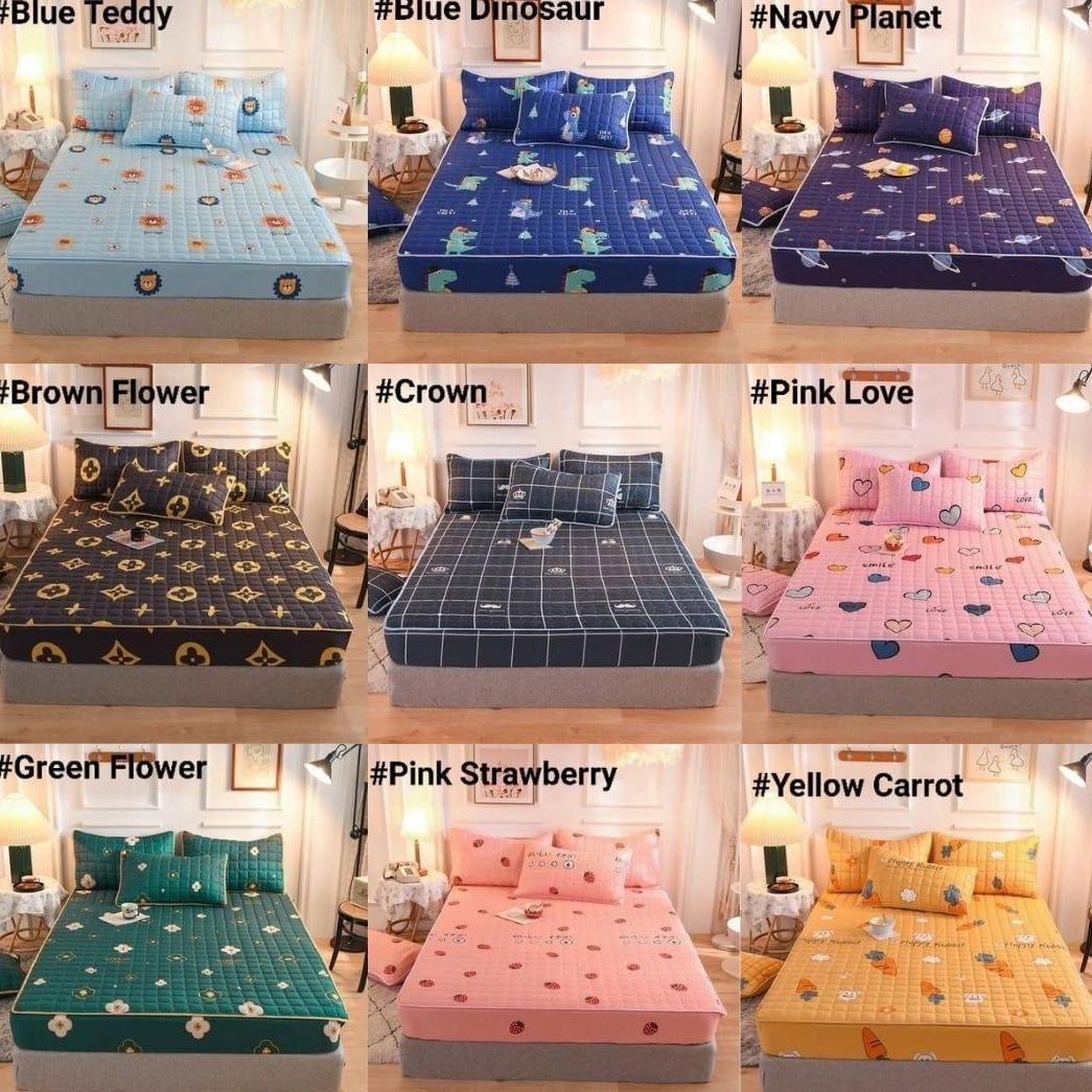 CADAR VIRAL ANTI KEDUT Fitted Bedsheet FREE 2PCS PILLOW CASE Mattress Cover Cotton Printed Bed Sheet