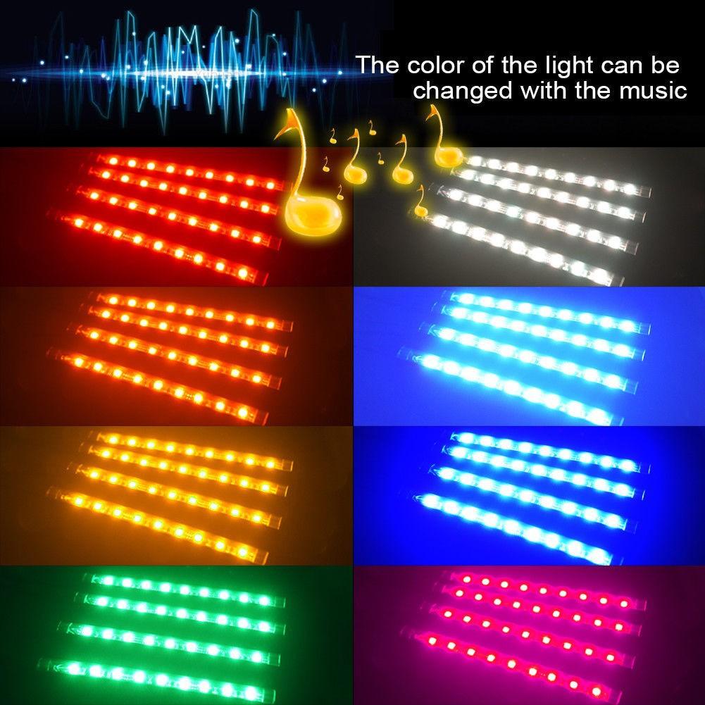 9LED Remote Control Colorful RGB Car Interior Floor Atmosphere Lights Strip US
