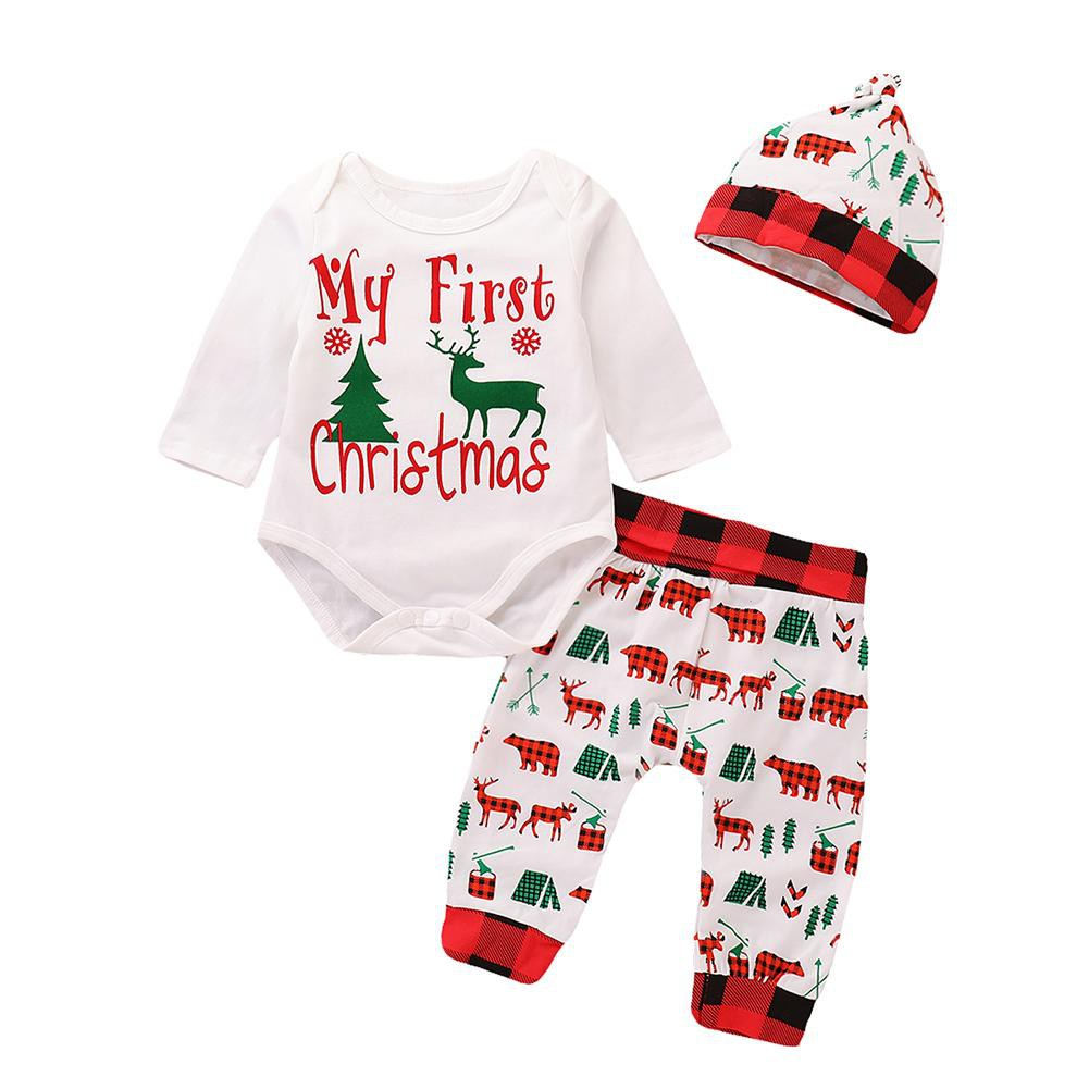 E-Baby]4pcs Newborn Baby Rompers Christmas Clothes Set | Shopee Malaysia