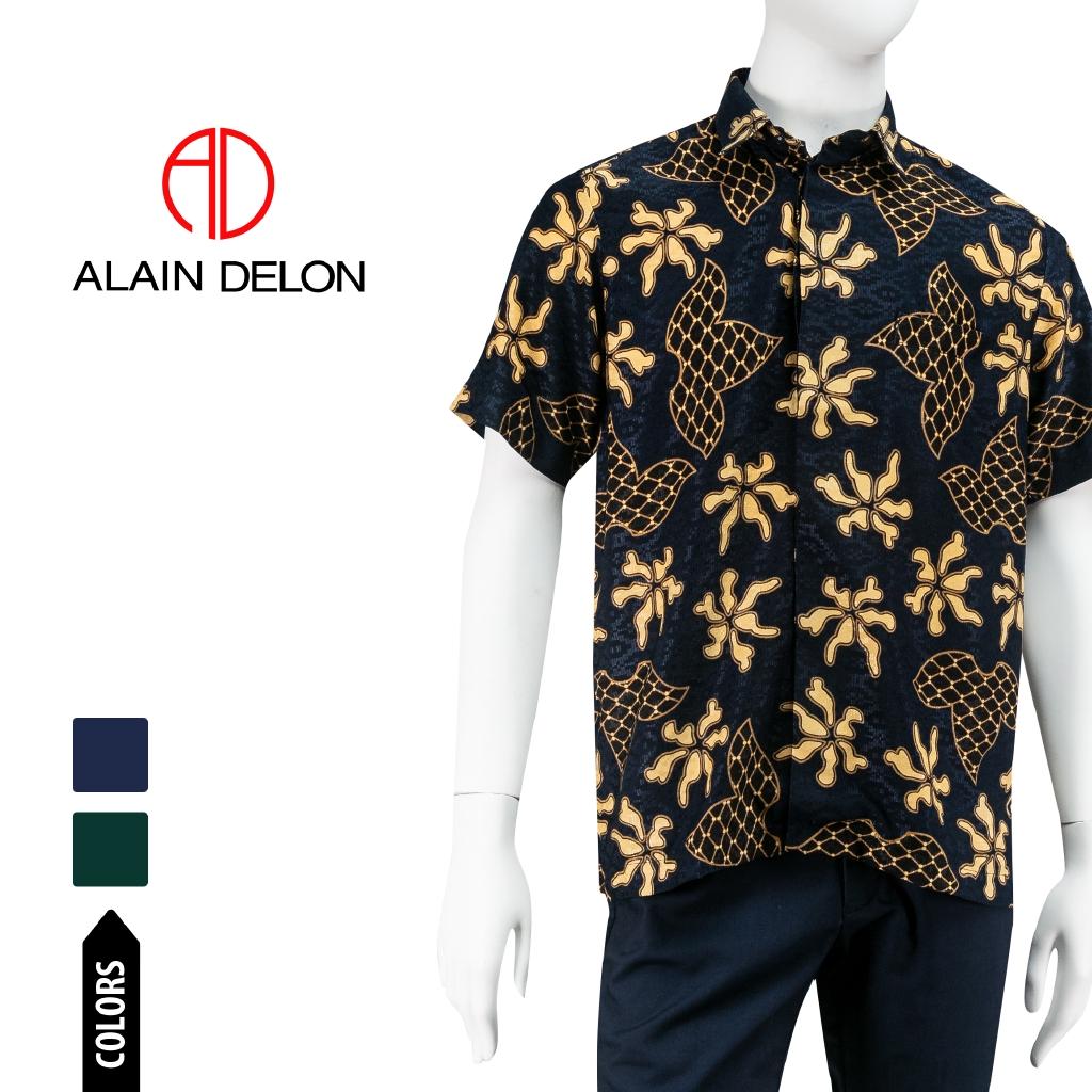 Alain Delon short sleeve batik silk look shirt - 14420018