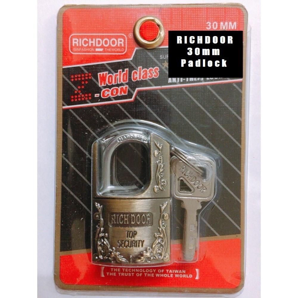 RICHDOOR Zinc Alloy Bronze Half Beam Arc Type Heavy Duty Padlock 30mm