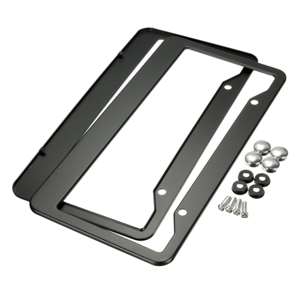 2Pcs Universal Car Chrome Stainless Steel Metal License Plate Frame Square Hole