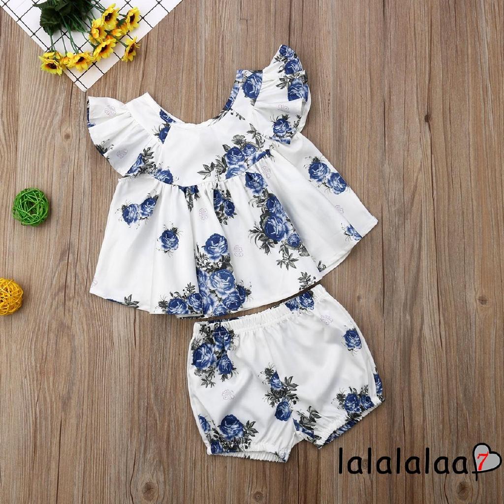646242620c7 ❤OO❤2 PCS Girls Flower print Summer Top + Shorts Clothes