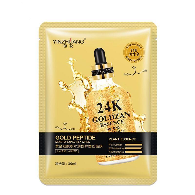 [ READY STOCK ]  24K Gold Brightening Silk Facial Mask Moisturizing Skin Mask Care Jualan Murah Serum Lotion Makeup Face