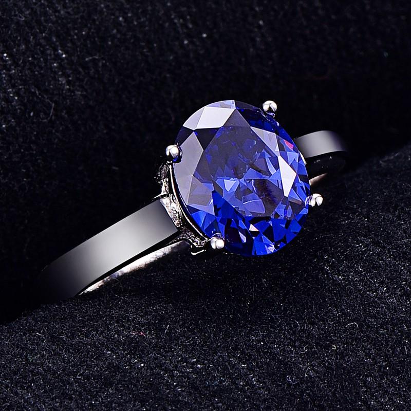 BONLAVIE Womens 4.3ct Oval Cut Created Blue Tanzanite 925 Sterling Silver Ring Wedding Engagement Ring