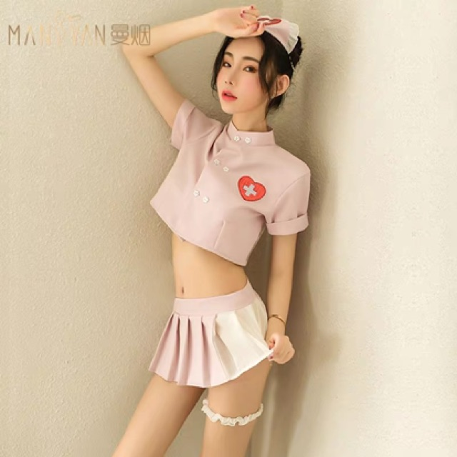 【Free Size】Nightwear Sexy nurse uniform set 性感睡衣可爱护士制服情趣内衣骚透视文胸短裙诱惑丝袜超骚睡裙女