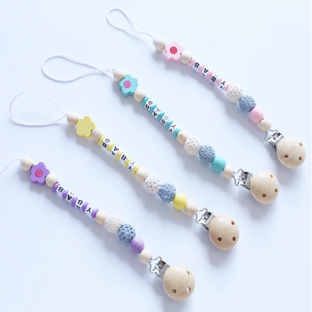 Personalised Baby Dummy Soother Wooden Clip Holder Strap Shower Christening Gift