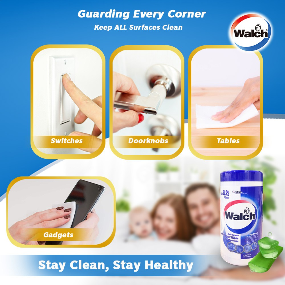 [Bundle of 5] Walch Disinfectant Wipes 75pcs Odor Removal Kills 99.9% Germs
