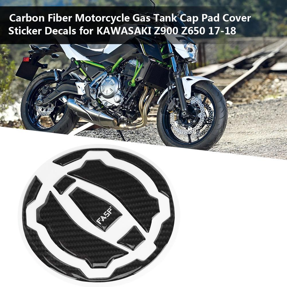 Carbon Fiber Motorcycle Tank Cap Pad Cover Sticker Decals