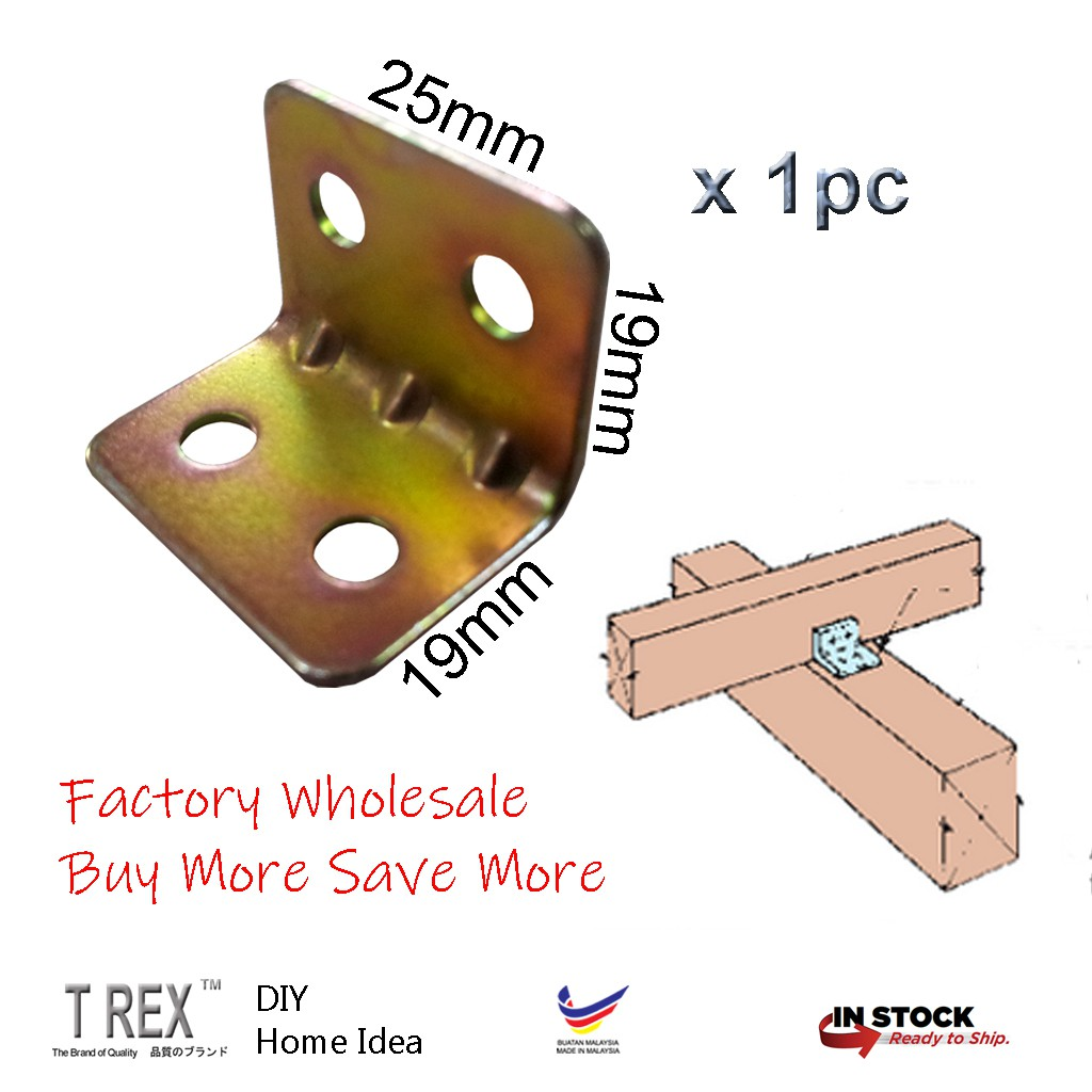 19MM CORNER BRACE ANGLE BRACKET ZINC PLATED X 100