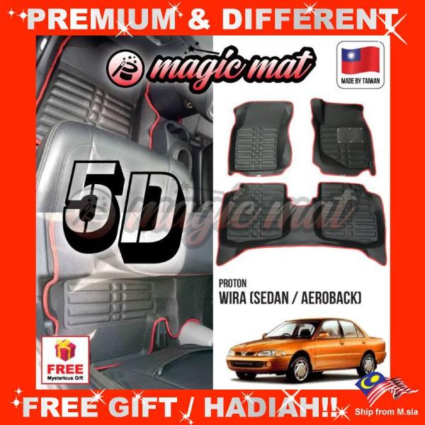 [FREE GIFT Gift] PROTON WIRA Sedan/Aeroback (5 Seater) MAGIC MAT 5D OEM PU Leather Floor Mat Anti-Slip Easy Clean Carpet