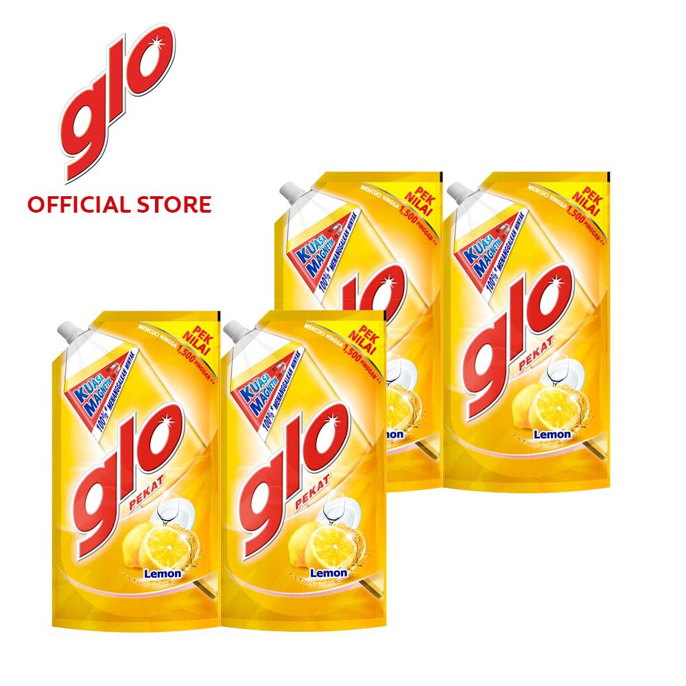 Glo Active Foam Lemon Dishwashing Liquid 850ml Refill [Bundle Of 4] Value Deal