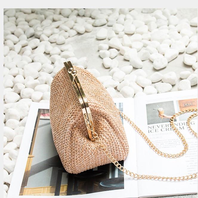 Elegant Dinner Woven Chain Sling Bag Pouch #beg