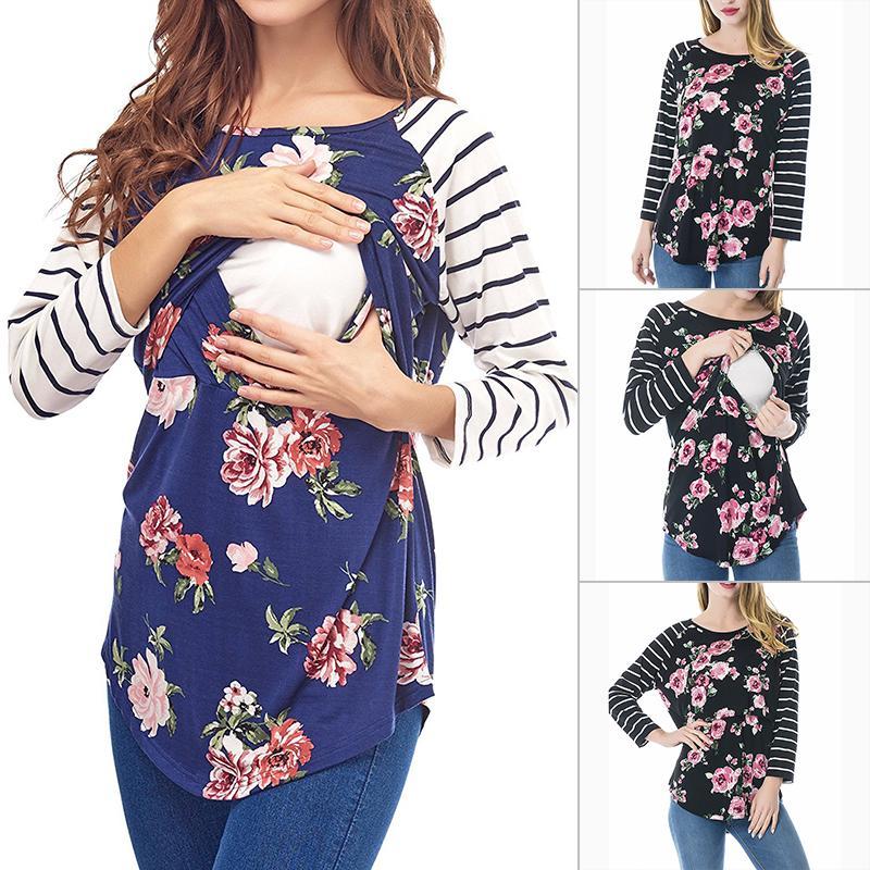 1dcca3578abdd Women Maternity Pregnant T-Shirt Long Sleeves Nursing Breastfeeding Clothes  Tops