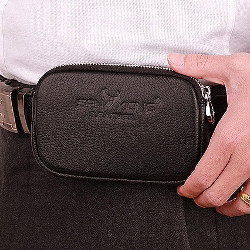 Men Genuine Leather Cell Phone Case Bag Hip Bum Hook Fanny Waist Pack Belt Purse